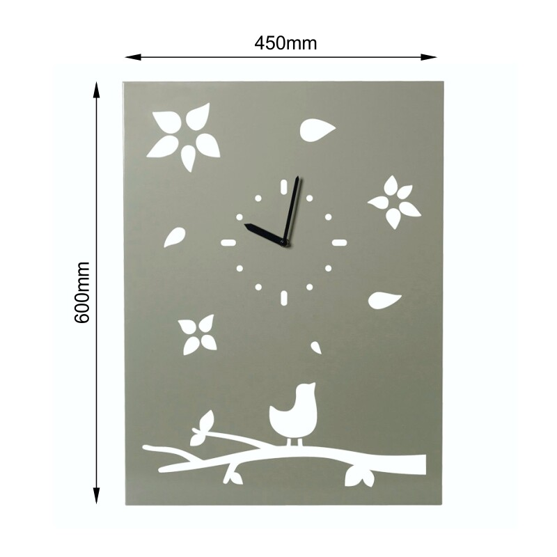 Milkcan-1054-bird-on-tree-clock-steel-woodland-dims-800px