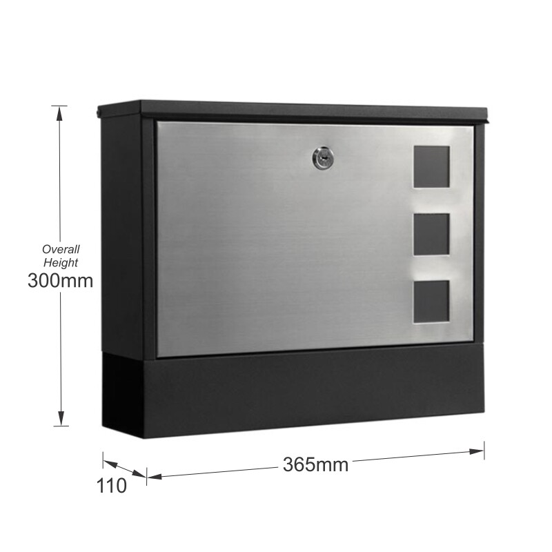 Milkcan-858BLK-Bristol-stainless-black-wall-letterbox-dims-800px