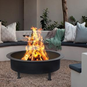 Kalahari 81cm BLACK Fire Pit LARGE DEEP 4mm Thick Bowl -6298