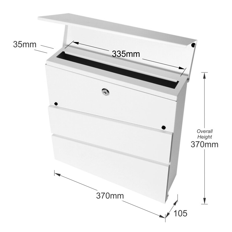 Milkcan-8592-Kensington-wallbox-letterbox-front-open-white-dims-800px
