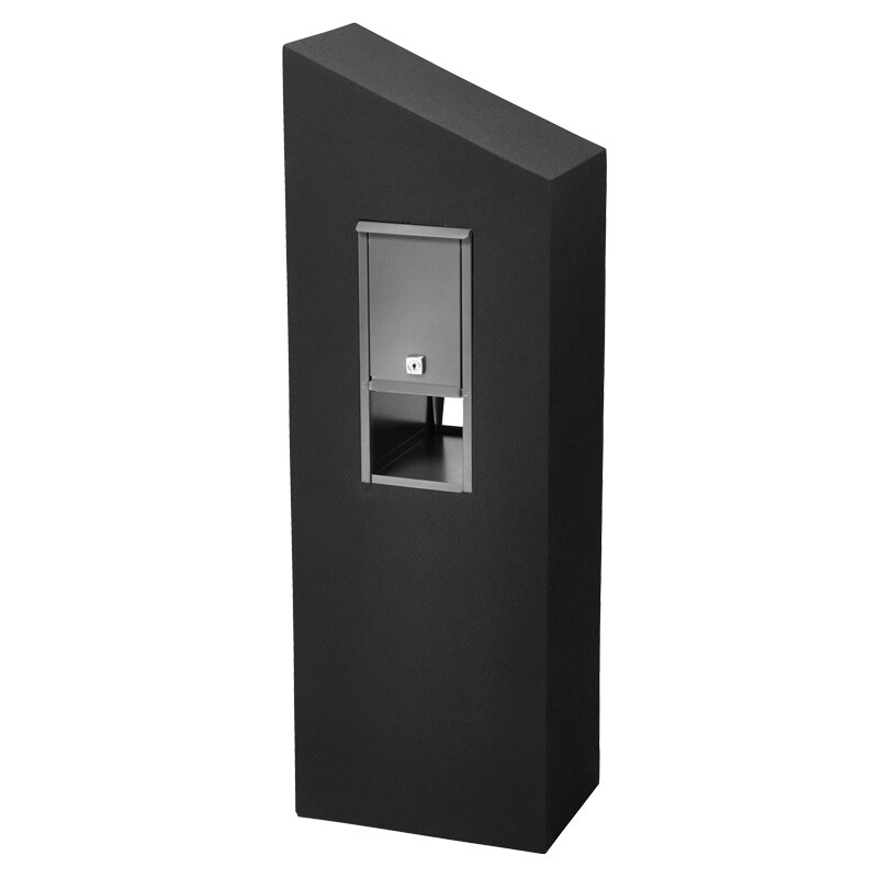 Milkcan-550-Monaco-black-concrete-pillar-stainless-steel-letterbox-back-800px