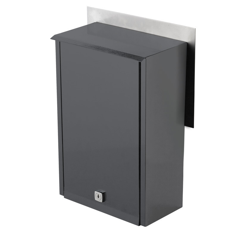 Milkcan-8102STS-Chelsea-fence-letterbox-stainless-charcoal-back-800px