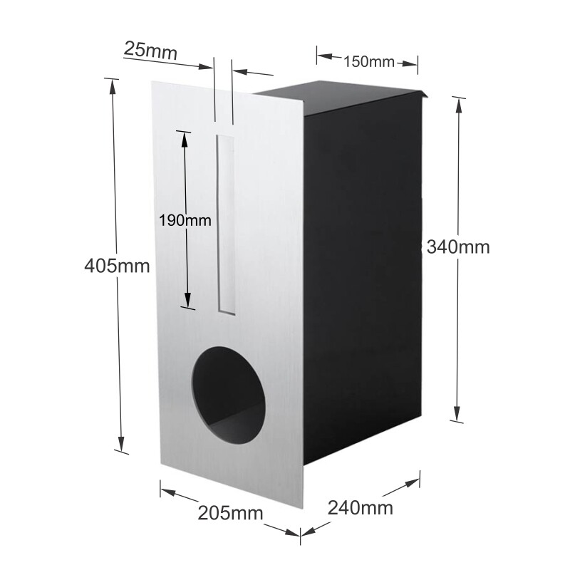 Milkcan-2341STS-Hendon-fence-letterbox-stainless-black-dims-800px