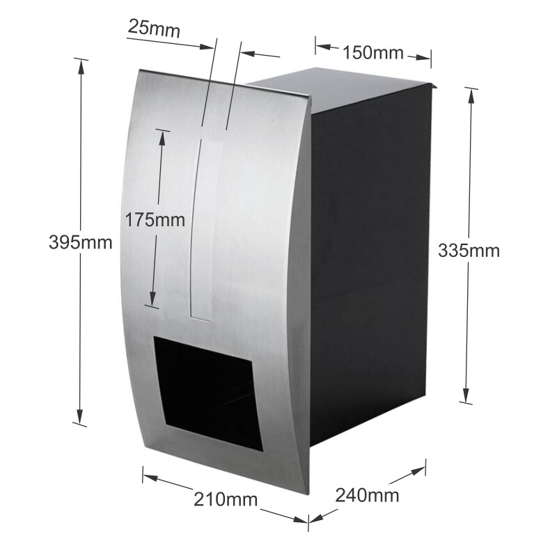 Milkcan-2361STS-Modena-fence-letterbox-stainless-black-dims-800px