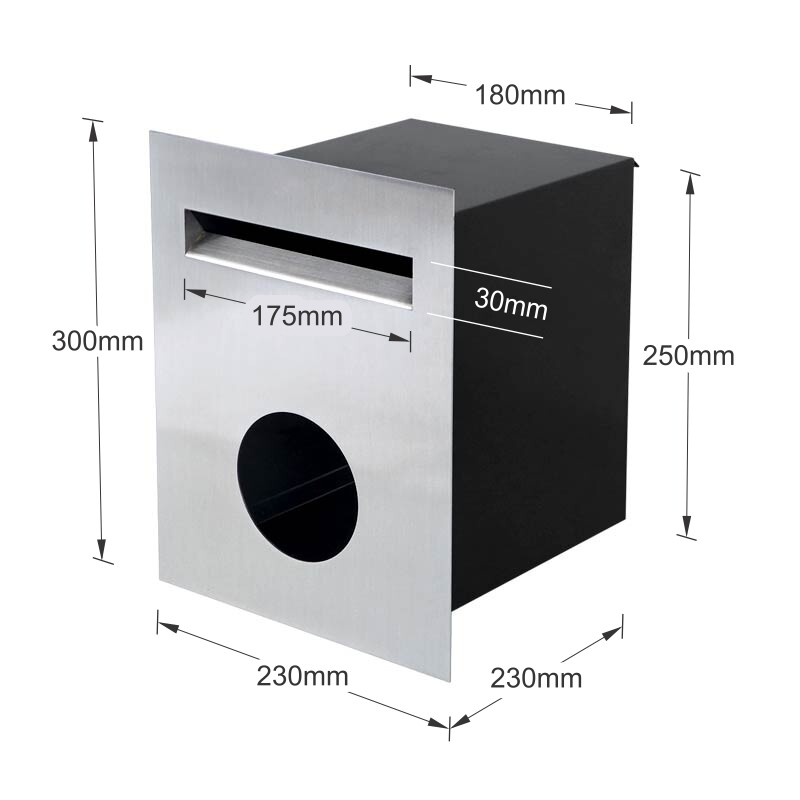 Milkcan-813STS-brick-fence-stainless-steel-black-letterbox-dims-800px