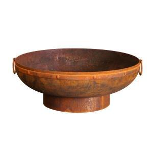 Milkcan Gobi 90cm RUST 'Indian Kadhai' Fire Pit 3.5mm Bowl with Handles-12462