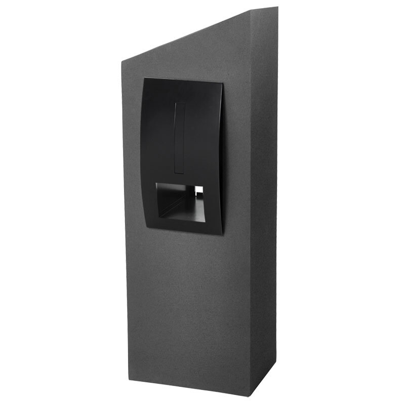 Milkcan-550-Monaco-grey-black-concrete-pillar-stainless-steel-letterbox-main-800px