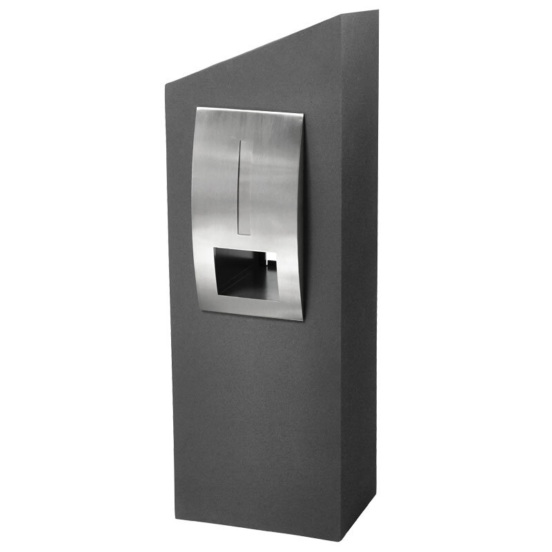 Milkcan-550-Monaco-grey-concrete-pillar-stainless-steel-letterbox-main-800px