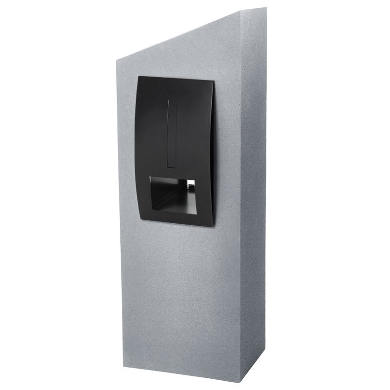 Milkcan-550-Monaco-light-grey-black-concrete-pillar-stainless-steel-letterbox-main-800px