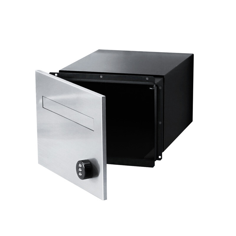 763F1SS-B3BK-torino-brick-parcel-letterbox-combo-stainless-black-front-open-800px