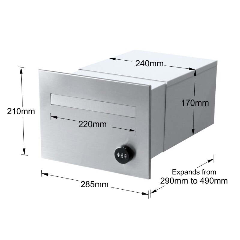 Milkcan-763F1SS-B3WH-torino-brick-parcel-letterbox-combo-stainless-white-dims-800px